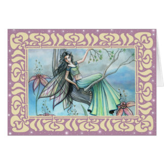 Night Lily Fairy Blank Greeting Card
