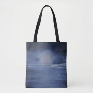 night moon over the ocean tote