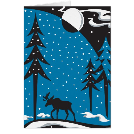 Night Moose Christmas Scene Card