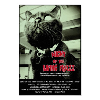 Night of the Living Frazz! Cat Movie Poster, Red Poster