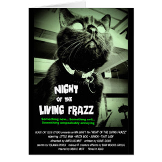 """Night of the Living Frazz!"" Zombie Cat Note Card"