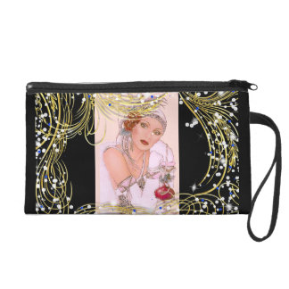NIGHT OUT WOMAN IN bBLACK W SPARKLES Wristlet