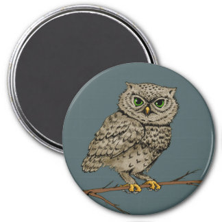 night owl 7.5 cm round magnet