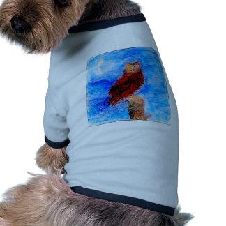 Night Owl Bird Art Ringer Dog Shirt
