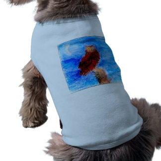 Night Owl Bird Art Sleeveless Dog Shirt