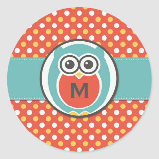 Night Owl Cartoon Monogram Stickers