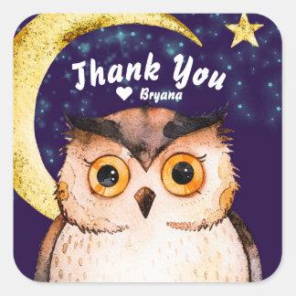 Night Owl Cute Purple Sleepover Slumber Party Square Sticker