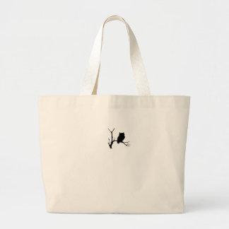 night owl on tree branch jumbo tote bag