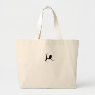 night owl on tree branch large tote bag