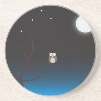 Night owl sandstone coaster