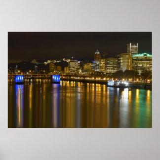 Night Scene of Portland Oregon Poster