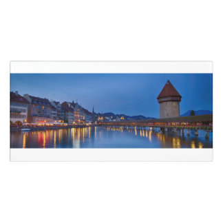 Night sight of Chapel Bridge in Lucerne Door Sign