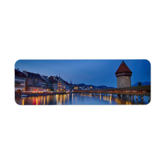 Night sight of Chapel Bridge in Lucerne Return Address Label