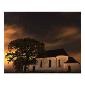 Night Sky Church Photo Art