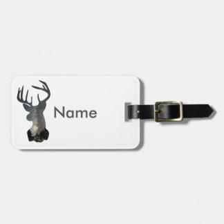 Night sky deer silhouette bag tag