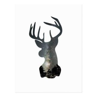 Night sky deer silhouette postcard