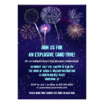 Night Sky Fireworks 4th of July Party Personalized Invitations