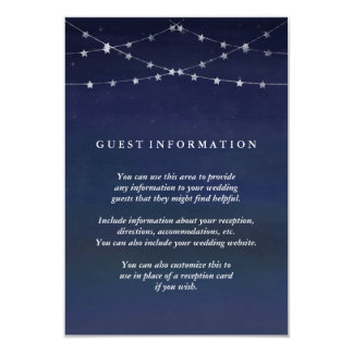 Night Sky Garlands of Stars Wedding Guest Info Card