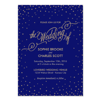 Night Sky Gold Stars Fancy Wedding Invitation
