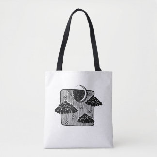 Night Sky Half Moon Clouds Illustration Tote Bag