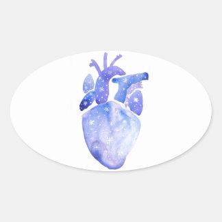 Night Sky Heart Oval Sticker