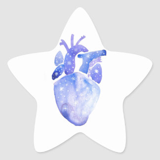 Night Sky Heart Star Sticker