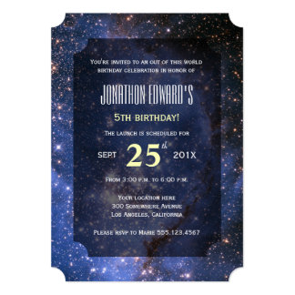 Night Sky / Space Theme Birthday Party Invitation