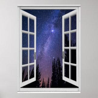 Night Sky View Trompe l'oeil Fake Window Poster