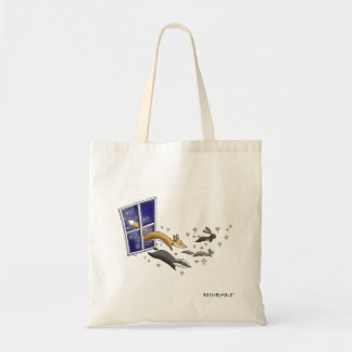 Night Sky woodland animals and stars art tote bag