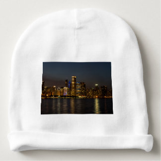 Night Skyline Chicago Pano Baby Beanie