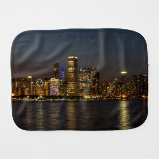 Night Skyline Chicago Pano Burp Cloth
