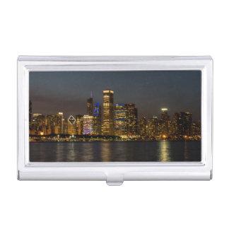 Night Skyline Chicago Pano Business Card Holder