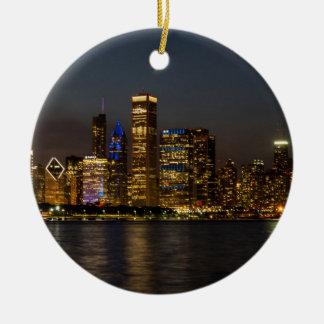Night Skyline Chicago Pano Ceramic Ornament