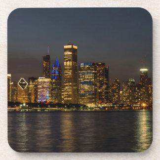 Night Skyline Chicago Pano Coaster