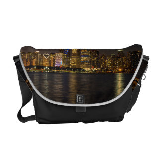 Night Skyline Chicago Pano Courier Bag