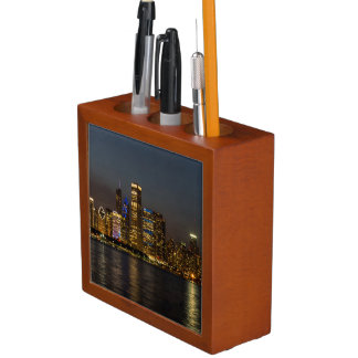 Night Skyline Chicago Pano Desk Organiser