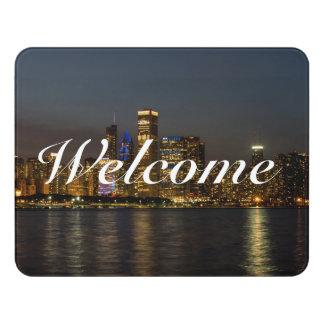 Night Skyline Chicago Pano Door Sign