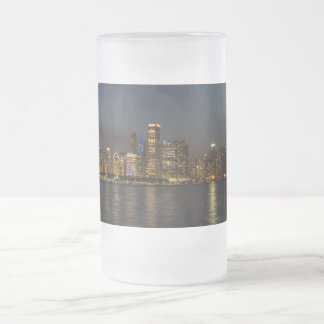 Night Skyline Chicago Pano Frosted Glass Beer Mug