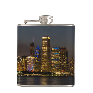 Night Skyline Chicago Pano Hip Flask