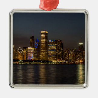 Night Skyline Chicago Pano Metal Ornament