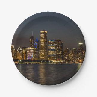 Night Skyline Chicago Pano Paper Plate