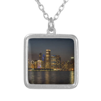 Night Skyline Chicago Pano Silver Plated Necklace