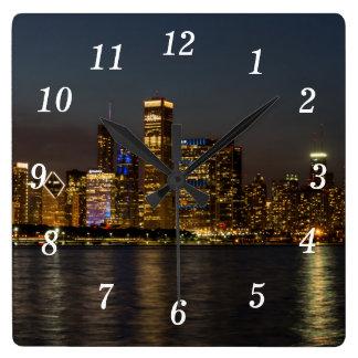 Night Skyline Chicago Pano Square Wall Clock