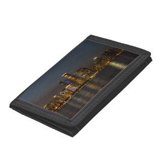 Night Skyline Chicago Pano Trifold Wallet