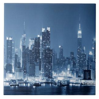 Night Skyline Manhattan Panoramic View Large Square Tile