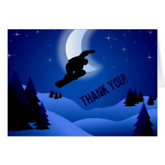 Night Snowboarding Mountain Thank You Card