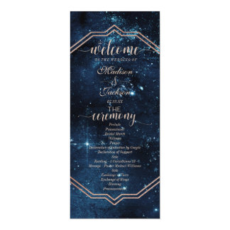 Night Star Sky Celestial Galaxy Wedding Program