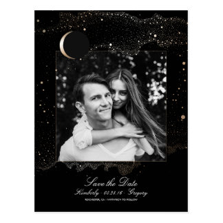 Night Stars Black and Gold Photo Save the Date Postcard