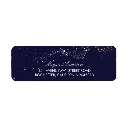 Night Stars Navy Wedding Return Address Label