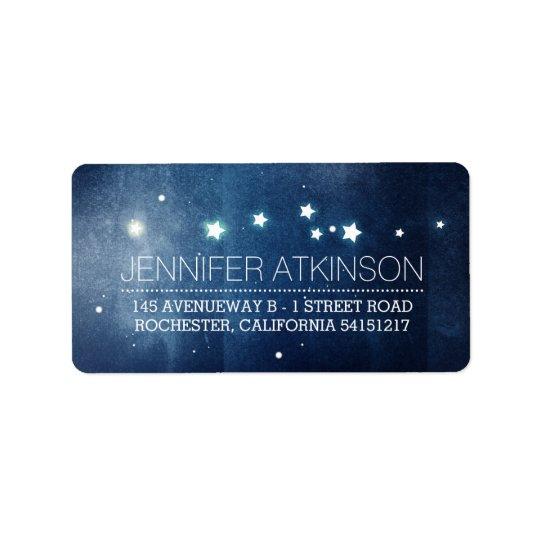 Night Stars Romantic Navy Address Label
